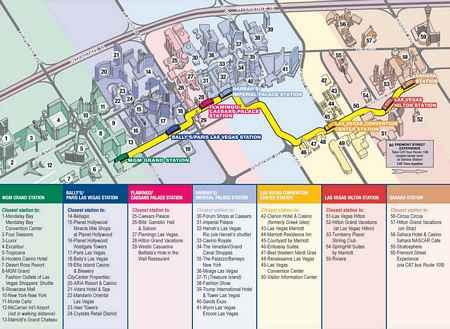 Monorail Karta på alla stationer i Las Vegas