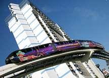 Monorail och hotellet Ballys i Las Vegas
