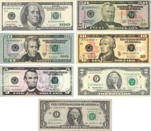 Usas och Las Vegas alla olika dollarsedlar